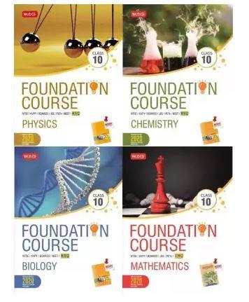 'MTG Foundation Course class 10th' – Physics, Chemistry, Biology, and Mathematics