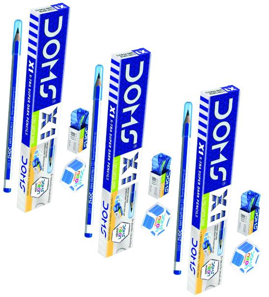 Doms XI X-tra Super Dark Graphite Pencils (Pack of 3)
