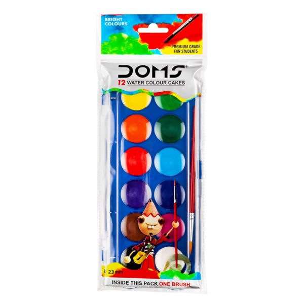 DOMS 12 Water Colours Cakes (Pack of 1)