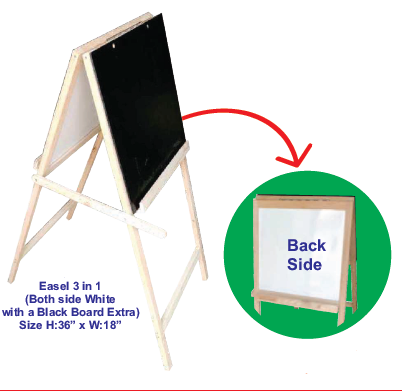 Easel 3 in 1 (Both side White with a Black Board Extra)