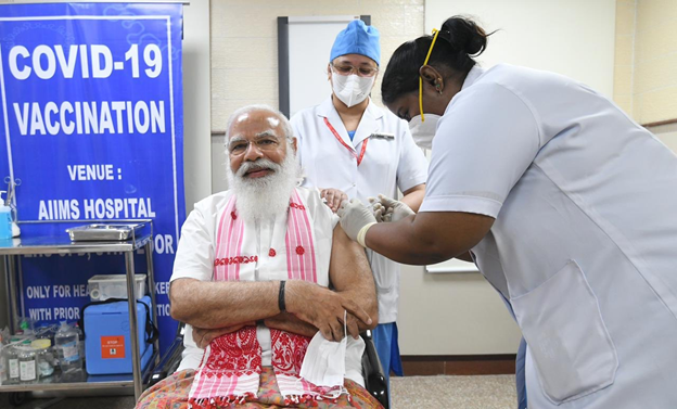 PM Narendra Modi Get Vaccinated
